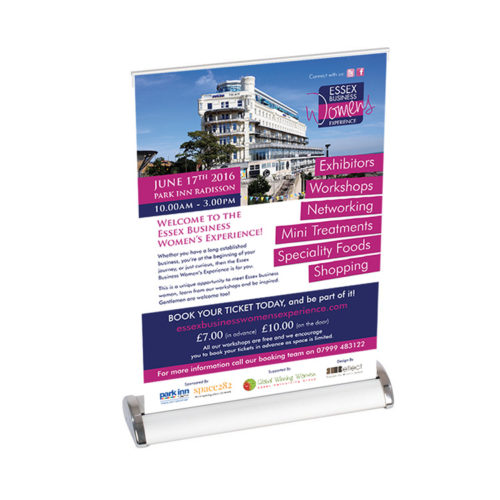 Unique business promotion ideas London Essex personalised A3 roller pop up table banner