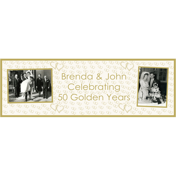 Unique party essential London Essex. personalised large banner for Golden Wedding anniversary