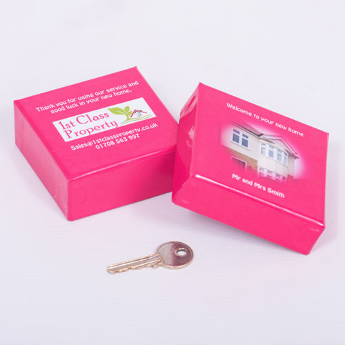 Unique business promotion ideas London Essex personalised trinket box to hold key to new home for estate agents