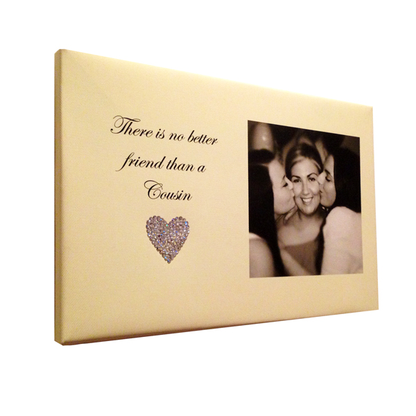 Unique gift idea London Essex personalised canvas print with blinged heart for cousins special birthday