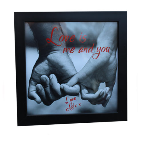 Unique gift idea London Essex framed artwork with personalised message for Valentines or anniversary gift