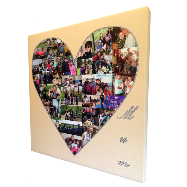 Unique gift idea London Essex personalised heart montage canvas print with bling for mum