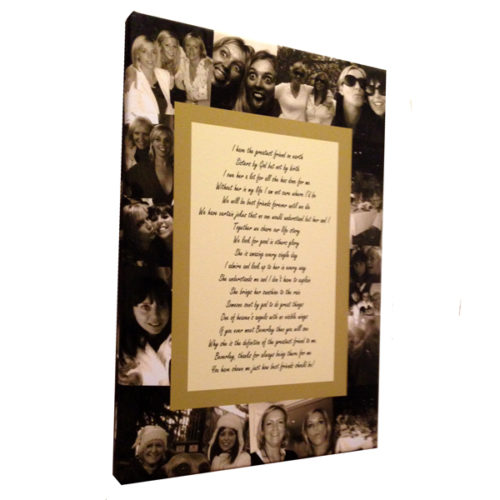 Unique gift idea London Essex personalised montage canvas print with sisters poem for a birthday gift