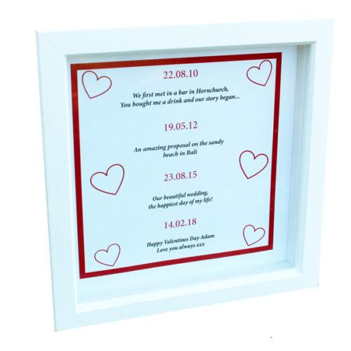 Unique gift idea London Essex personalised framed art work of relationship timeline