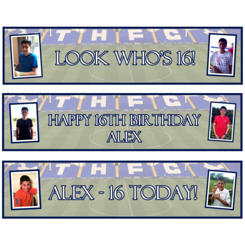 Unique gift idea London Essex personalised small banners x 3 for boys 16th birthday