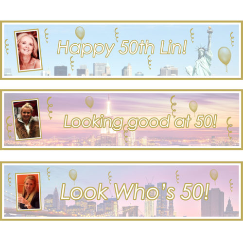 Unique gift idea London Essex personalised small banners x 3 for females 50th birthday