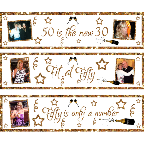 party essentials London Essex 3 small personalised ladies 50th birthday banners