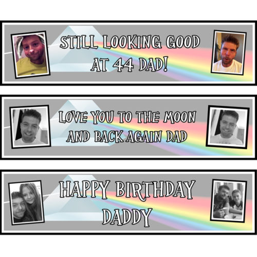 Unique gift idea London Essex personalised small banners x 3 for mens birthday