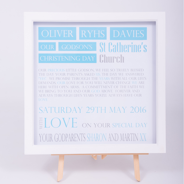 Unique gifts London Essex personalised box framed art work for boys holy communion