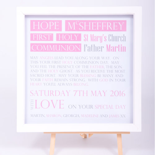 Unique gifts London Essex personalised box framed art work for girls holy communion