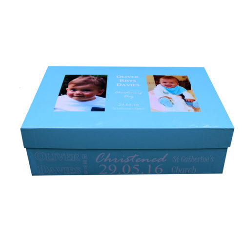 Unique gift idea personalised boys large keepsake memory box for new baby or Christening