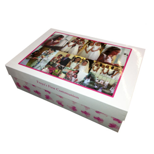 Unique gift idea personalised boys large keepsake memory box for Holy Communion
