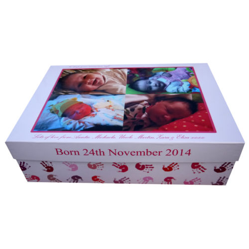 Unique gift idea personalised large new born keepsake memory box