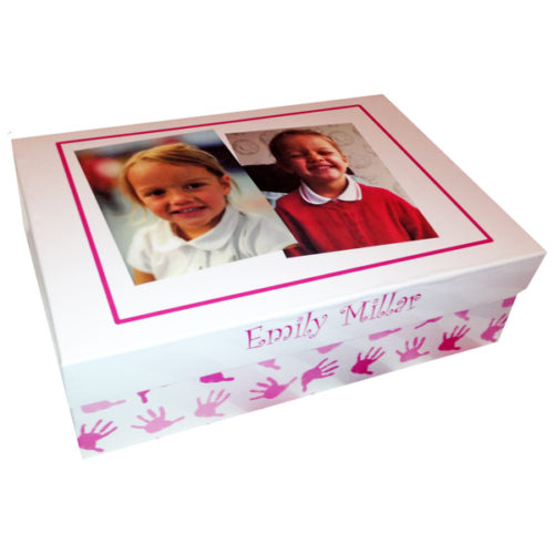 Unique gift ideas London Essex large personalised school keepsake memory box