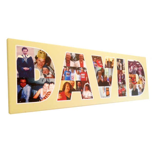 Unique gift ideas London Essex personalised montage of photos in name