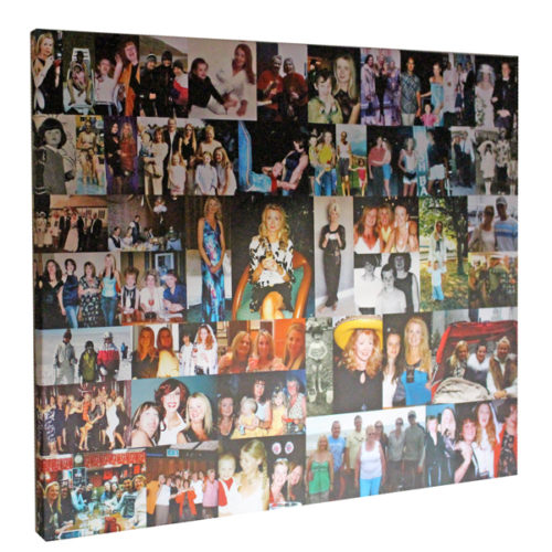 Unique gift idea London Essex personalised montage canvas print for 50th birthday