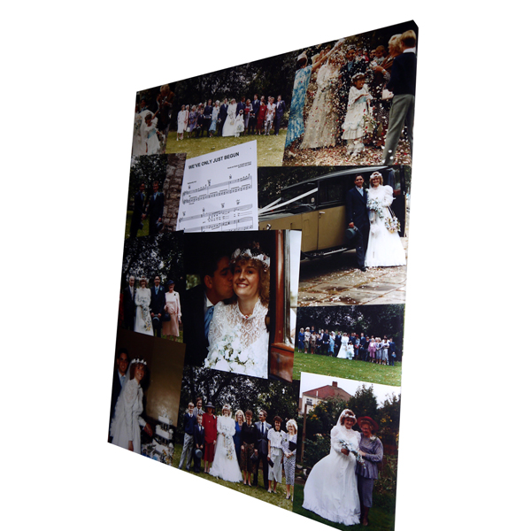 Unique gift idea London Essex personalised montage canvas print for anniversary gift