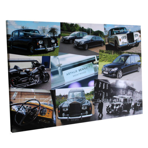 personalised business branded products for funeral directors London Essex montage photo canvas print