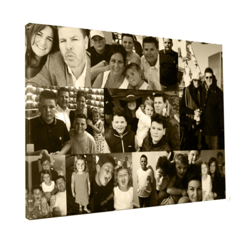 unique gift idea London Essex, personalised 40th birthday canvas montage black and white