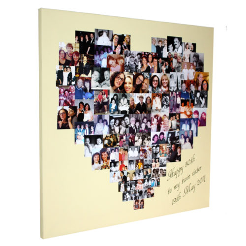 Unique gift ideas London Essex personalised montage canvas print for 50th birthday