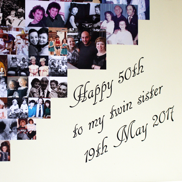 Unique gift ideas London Essex, personalised canvas montage for 50th birthday