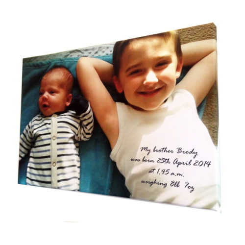 Unique gift idea London Essex personalised canvas print new born gift with wording