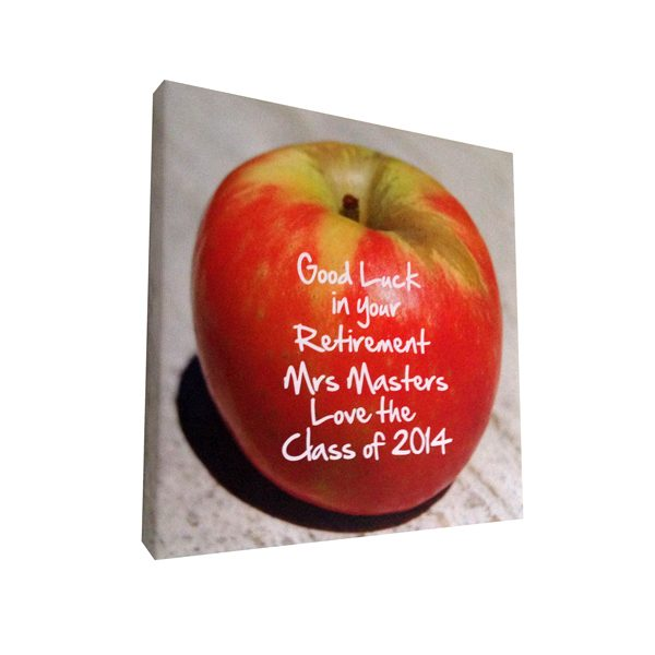 Unique gift ideas London Essex personalised canvas print of apple for teachers gift.