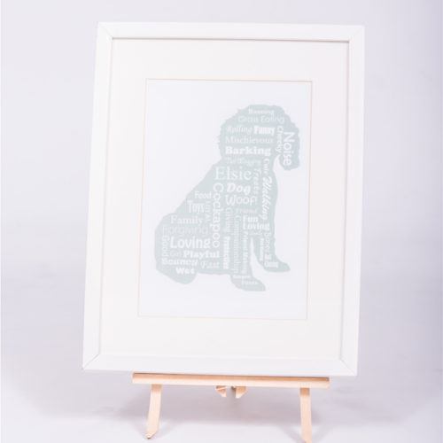 Unique gift ideas for pets London Essex personalised framed art work of dog silhouette and wording