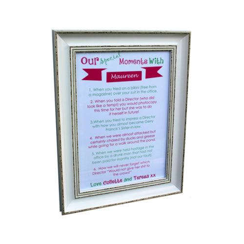 Unique gift ideas London Essex personalised framed artwork for memorable moments with friends