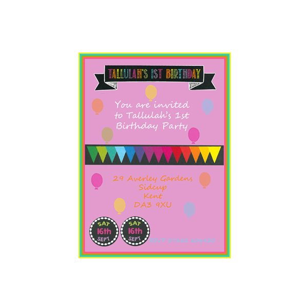 Party Essentials London Essex Personalised Girls Birthday Invites
