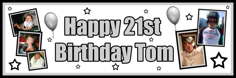 Unique party essentials London Essex personalised large banner for boys 21st birthday