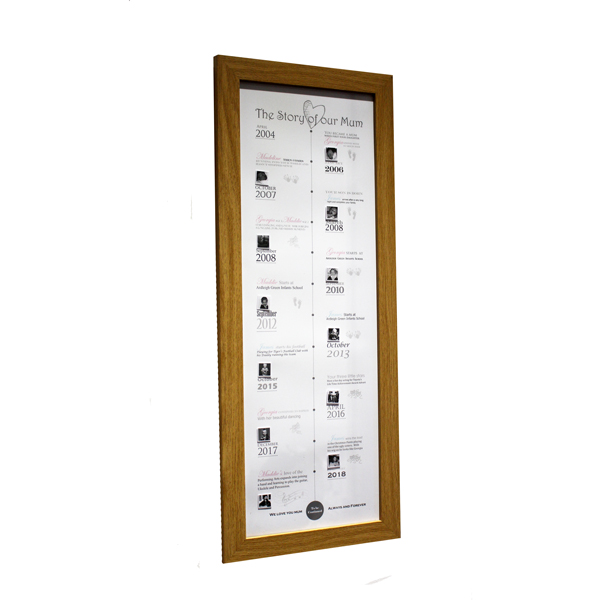 Unique gift idea London Essex personalised Mother's day timeline framed artwork