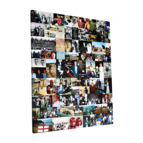 unique gifts London Essex, personalised montage canvas print for 70th birthday