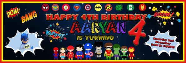 party essentials London Essex personalised large superhero themed boys birthday banner