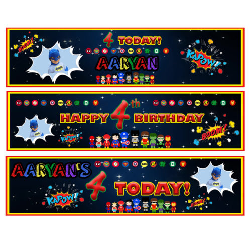 party essentials London Essex personalised small superhero themed banners for boys birthday