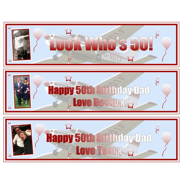 personalised 3 small 50th birthday banners Essex