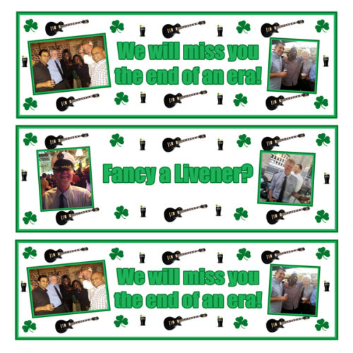 personalised 3 small leavers banners with Irish theme Essex