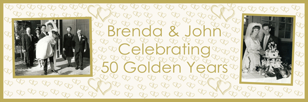 personalised golden wedding anniversary large banner Essex
