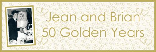 personalised golden wedding anniversary large banner Essex