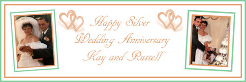 personalised silver wedding anniversary large banner Essex