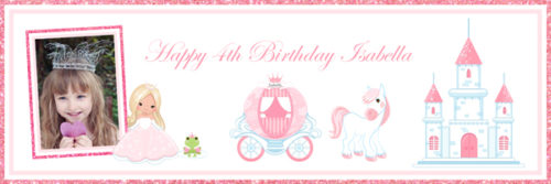 personalised young girls cinderella style birthday banner Essex
