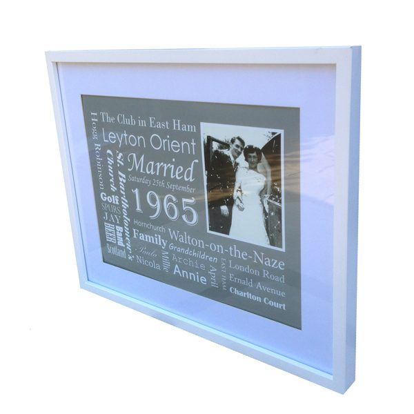 personalised framed art work anniversary gift Essex