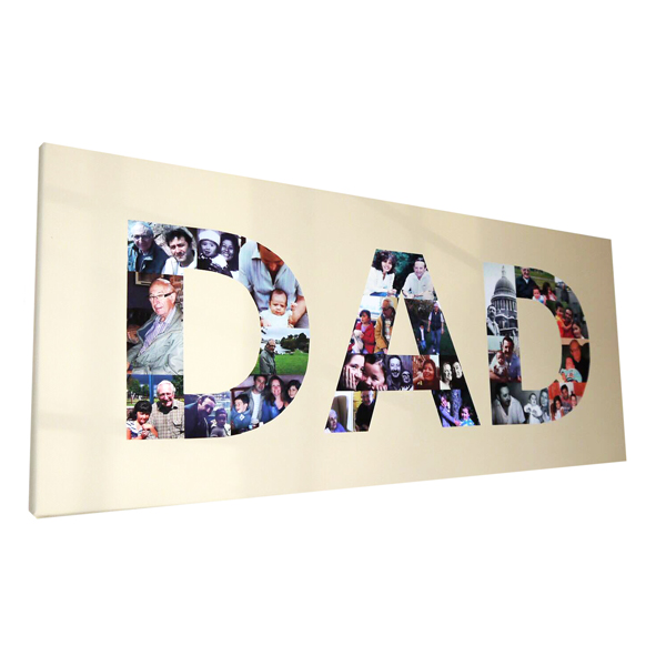 unique gift ideas London Essex personalised canvas montage in the shape of DAD