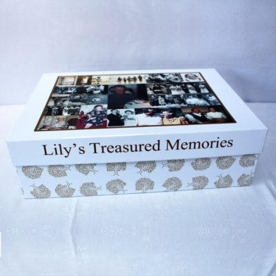 Unique gift idea personalised 'treasured memories' Large keepsake box